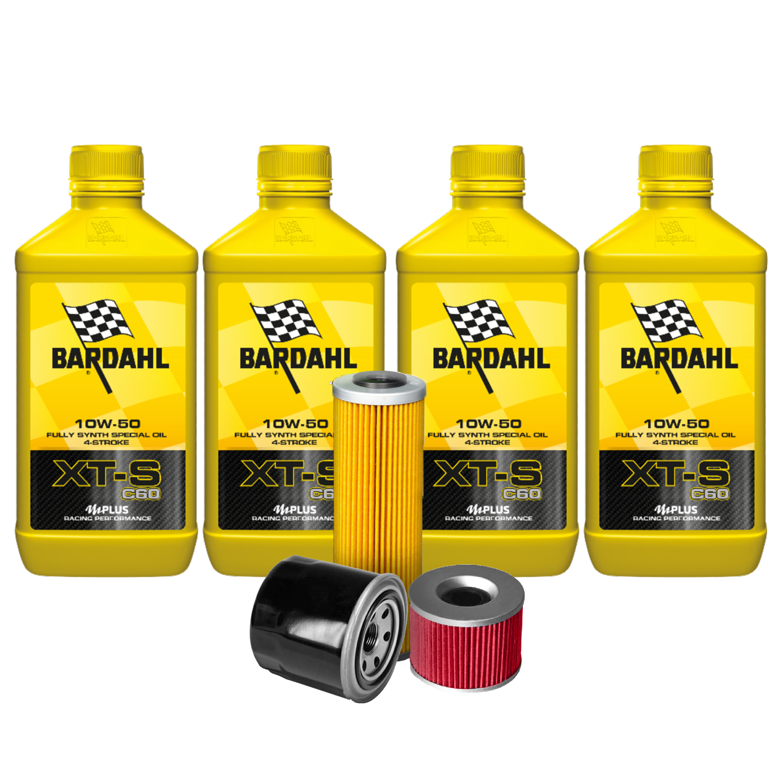 4 LITRI OLIO MOTO 4t Bardahl Bardhal XT-S XTS C60 10W50 +GRASSO SPRAY OMAGGIO