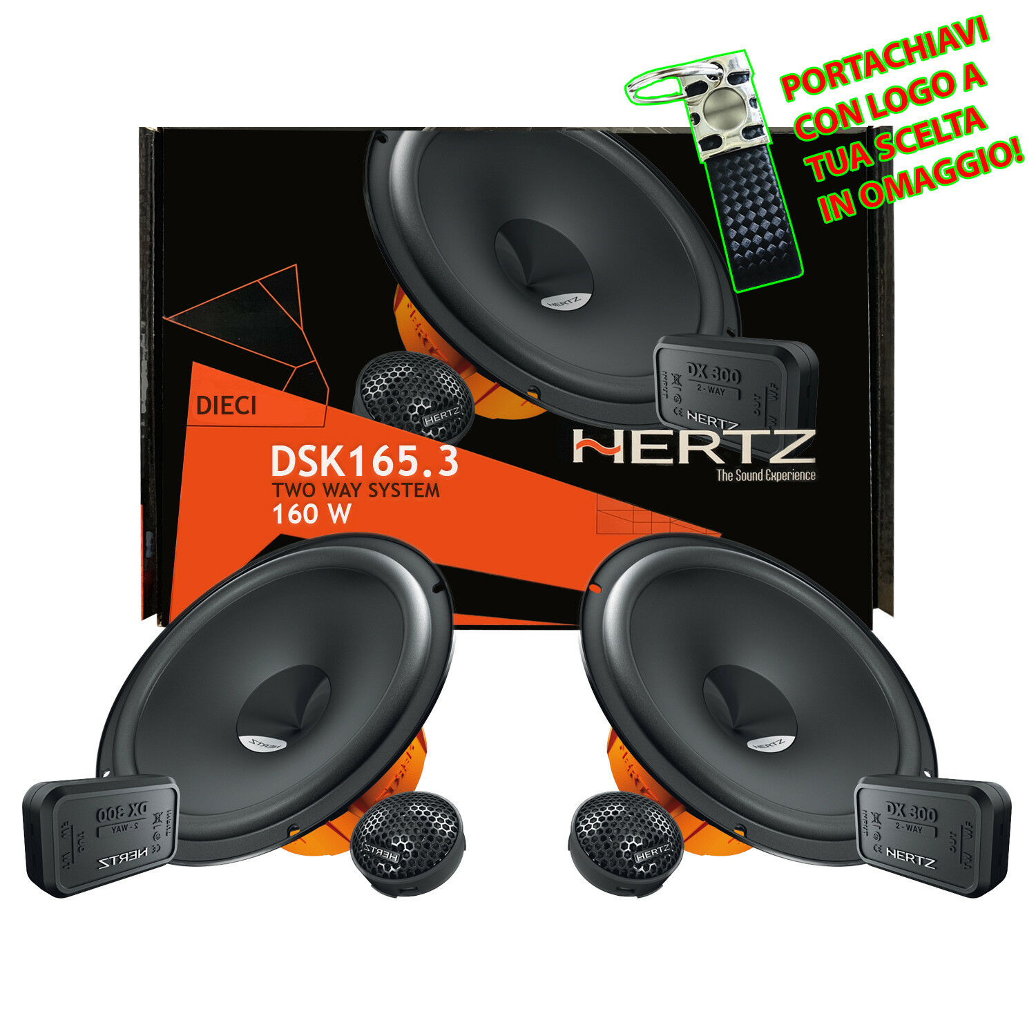 CROSSOVER HERTZ DSK 165.3 DIECI 160W TWEETER KIT ALTOPARLANTI WOOFER 165mm